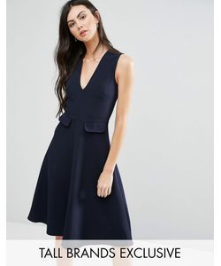 Alter Tall | Короткое Приталенное Платье С Карманами Темно-Синий