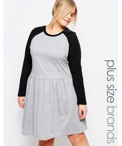 One Day Plus | Короткое Приталенное Платье С Контрастными Рукавами Реглан One Day Plu