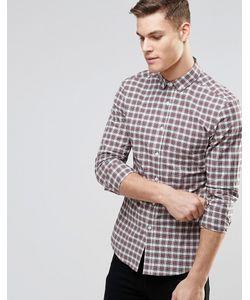 Asos | Облегающая Рубашка В Клетку Тартан С Длинными Рукавами Бежевый