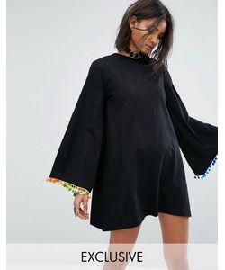 Rokoko | Свободное Платье С Длинными Рукавами И Отделкой Помпонами
