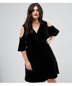 Boohoo Plus | Бархатное Платье С Открытыми Плечами И Запахом