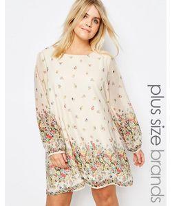 Yumi Plus | Цельнокройное Платье Размера Плюс С Цветочным Принтом Кремовый