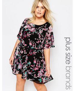 Yumi Plus | Платье Асимметричной Длины С Поясом И Цветочным Принтом