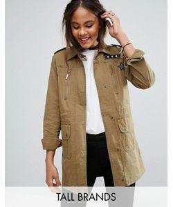 Brave Soul Tall   Куртка В Стиле Милитари С Нашивками
