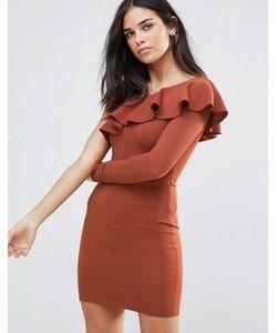 Oh My Love | Платье Мини В Рубчик С Открытым Плечом И Оборкой Oh My