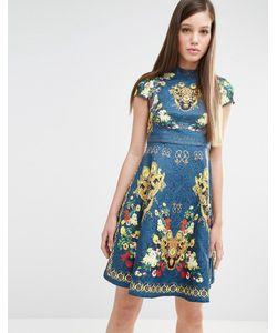 Comino Couture | Короткое Приталенное Платье С Принтом И Заклепками Сине-Зеленый