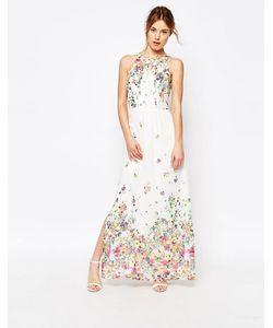 Uttam Boutique | Платье-Халтер Макси С Цветочным Принтом Кремовый