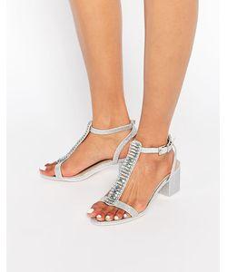 Asos | Сандалии На Каблуке С Отделкой Hotel Silver Glitter