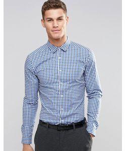 Asos | Облегающая Рубашка В Синюю Клеточку С Длинными Рукавами Синий