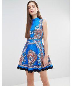 Comino Couture | Короткое Приталенное Платье С Принтом И Заклепками Кобальтовый