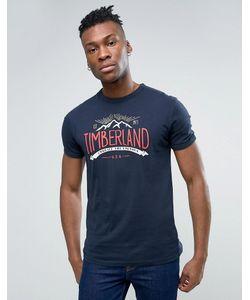 Timberland | Темно-Синяя Узкая Футболка С Логотипом