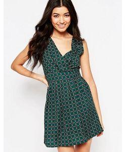 Mela Loves London | Короткое Приталенное Платье С Лиственным Принтом И Завязкой Сзади Mela Loves
