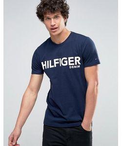 Hilfiger Denim | Темно-Синяя Футболка С Большим Логотипом