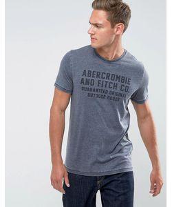 Abercrombie and Fitch   Темно-Синяя Облегающая Футболка С Логотипом