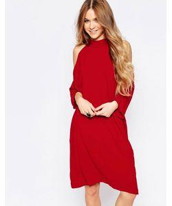 Liquorish | Платье Миди С Открытыми Плечами Красный