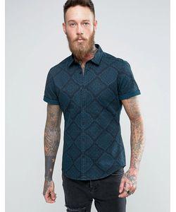 Asos | Джинсовая Крашеная Рубашка Скинни С Платочным Принтом