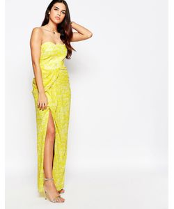 VLabel London | Платье Макси Бандо С Разрезом Спереди Vlabel Hook Желтый