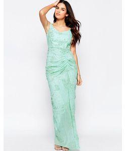 VLabel London | Платье Макси С Оборкой Спереди Vlabel India Зеленая Мята