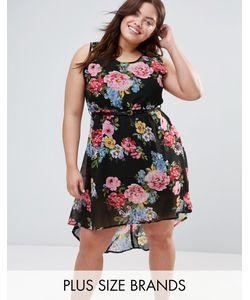 Yumi Plus   Платье С Цветочным Принтом И Поясом