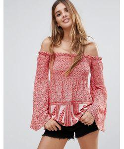 Hazel | Блузка С Цветочным Принтом И Открытыми Плечами