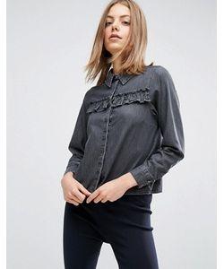Asos | Выбеленная Черная Джинсовая Рубашка С Оборками