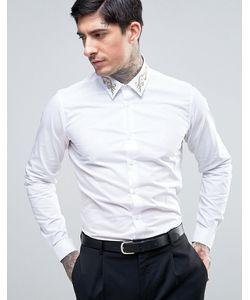 Devils Advocate | Приталенная Рубашка С Золотистой Вышивкой На Воротнике Premium