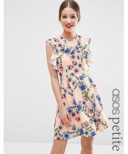 ASOS PETITE | Короткое Приталенное Платье С Оборками И Цветочным Принтом