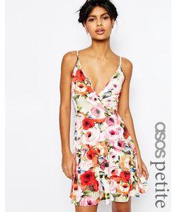 ASOS PETITE | Короткое Приталенное Платье С Цветочным Принтом На Бретельках Asos Мульти