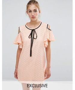 Sister Jane | Кружевное Платье С Открытыми Плечами И Оборками Телесный