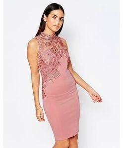 Club L | Платье Мини С Высокой Горловиной И Отделкой Кроше