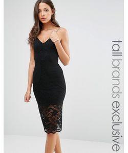 TFNC Tall | Платье-Комбинация С Кружевной Отделкой Черный