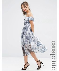 ASOS PETITE | Темно-Синее Платье Миди Из Органзы С Открытыми Плечами И Цветочным Принтом