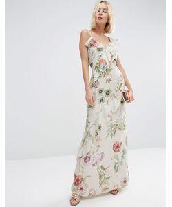 Asos | Платье Макси С Рюшами И Цветочным Принтом Мульти