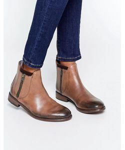Hudson London   Коричневые Кожаные Ботинки Algoma Серебряный