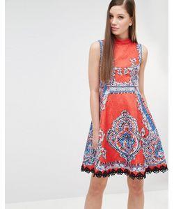 Comino Couture | Короткое Приталенное Платье С Принтом И Заклепками Красный
