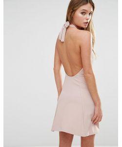 Fashion Union | Платье Халтер В Рубчик С Завязкой Сзади Розовый