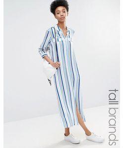 ADPT Tall | Платье-Рубашка В Полоску С Боковым Разрезом Мульти