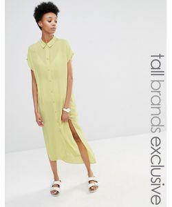ADPT Tall | Платье-Рубашка С Короткими Рукавами И Боковым Разрезом Лайм