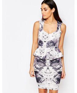 Vesper | Платье Миди С Баской И Цветочным Принтом Katy Серый