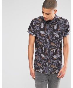 Asos | Классическая Рубашка С Короткими Рукавами И Цветочным Принтом Черный