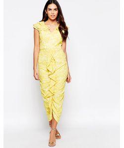 VLabel London | Платье Миди С Оборкой Спереди Vlabel Grange