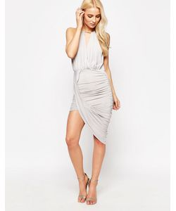 Sistaglam | Асимметричное Платье Cheryl Серый
