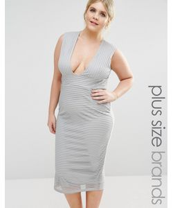 Missguided Plus | Платье Миди В Рубчик С Глубоким Вырезом Серый