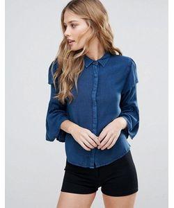 Influence | Рубашка Из Ткани Шамбре С Оборками На Рукавах