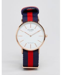 Reclaimed Vintage | Сине-Красные Часы С Парусиновым Ремешком В Полоску