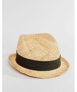 Catarzi | Соломенная Шляпа С Лентой В Серый Горошек Бежевый