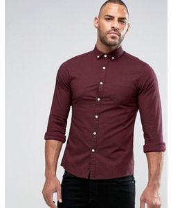 Asos | Бордовая Оксфордская Рубашка Скинни