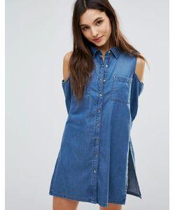 Parisian | Джинсовое Платье-Рубашка С Открытыми Плечами