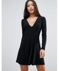 Club L | Короткое Приталенное Платье С Глубоким Вырезом Спереди