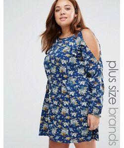Yumi Plus   Платье С Цветочным Принтом И Вырезами На Плечах